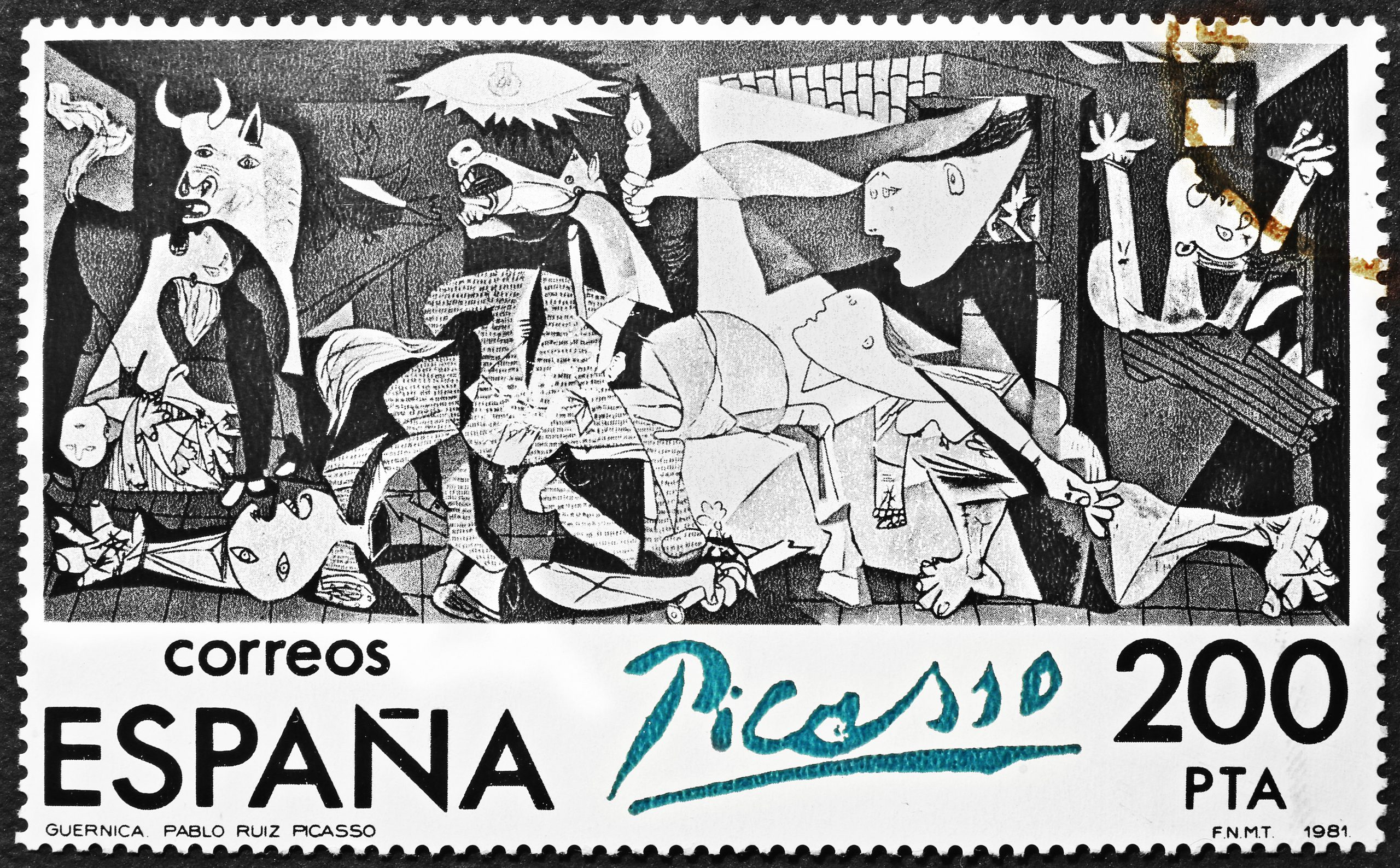 Image of the painting 'Guernica' (1937) by Pablo Picasso reproduced on a Spanish postage stamp