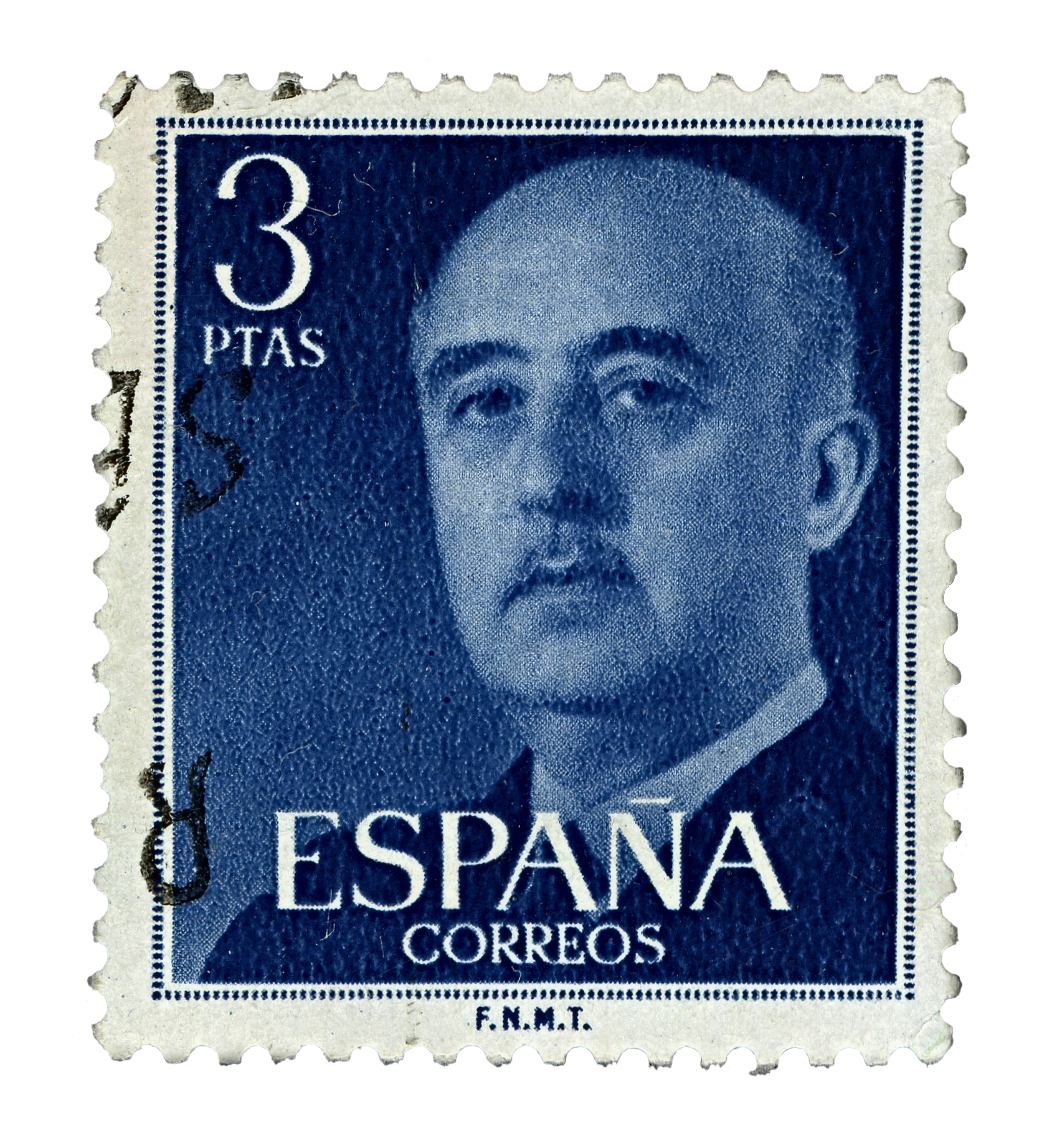 Photograph of a blue Spanish stamp, circa 1955, showing the face of Francisco Frano