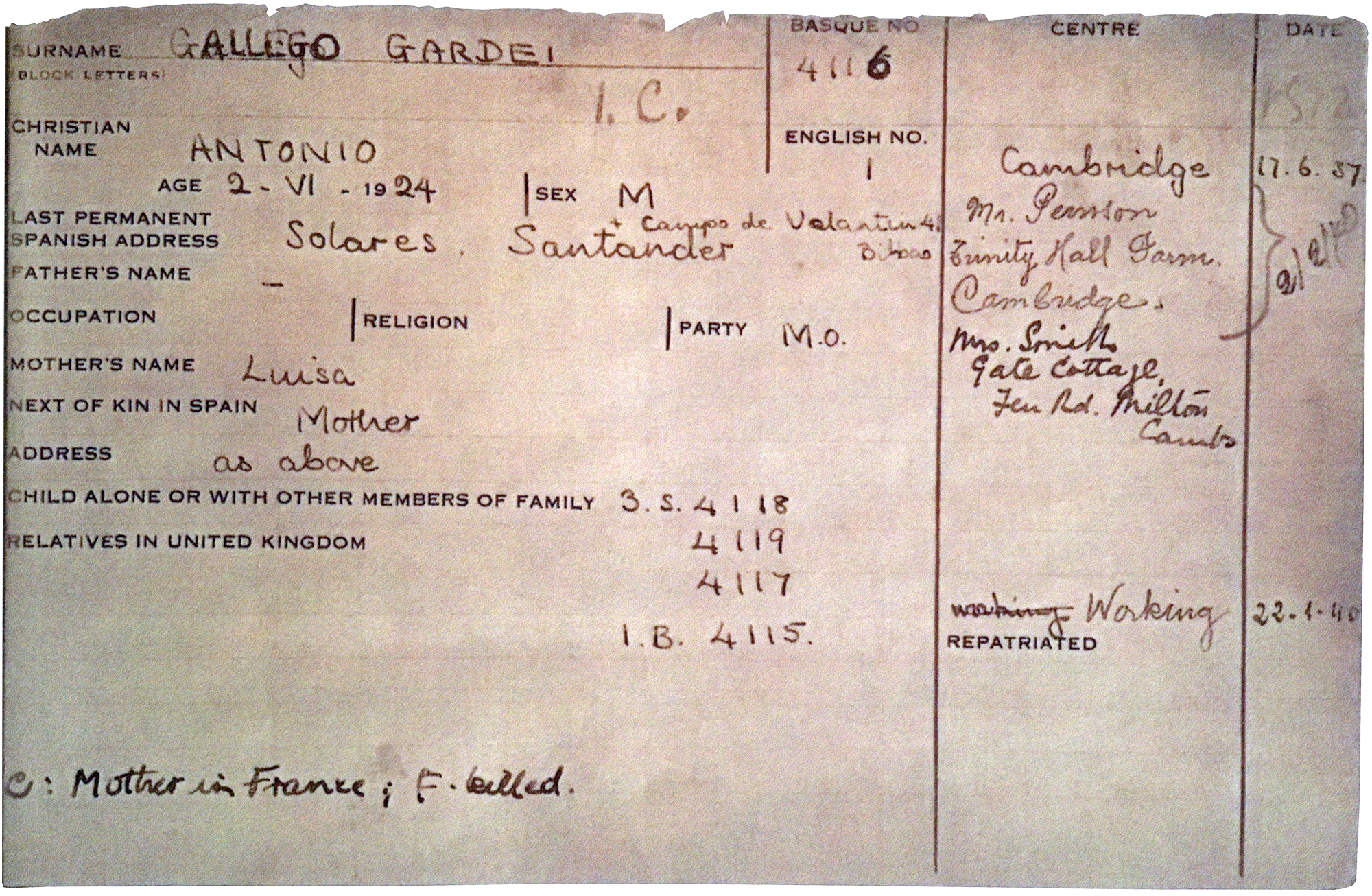 Photograph of Gardei Gallego's ficha - a document that recorded the name, address, next of kin, sex and religion of each Basque child sent to Britain.